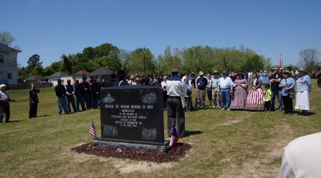 Battle of Plymouth Descendants honor their ancestors during the dedication of a Battle of Plymouth monument in April 2015.